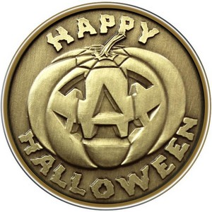 Happy Halloween Pumpkin Bronze Medallion