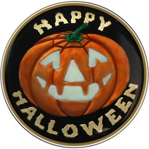 Happy Halloween Glow-in-the-Dark Pumpkin Bronze Medallion Enameled