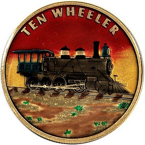Train Ten Wheeler Bronze Medallion Enameled