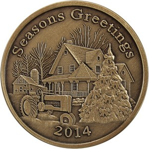 2014 Seasons Greetings Farmhouse Bronze Medallion