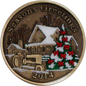 2014 Seasons Greetings Farmhouse Bronze Medallion Enameled