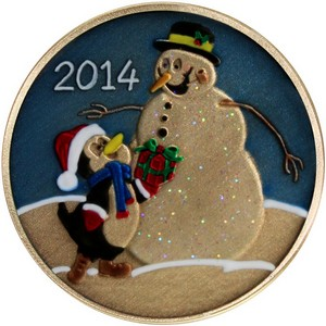 2014 Snowman and Penguin Gift Bronze Medallion Enameled