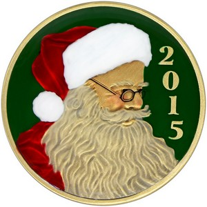 2015 Santa's Profile 1oz Bronze Medallion Enameled