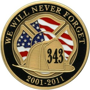 We Will Never Forget 911 Bronze Medallion Enameled