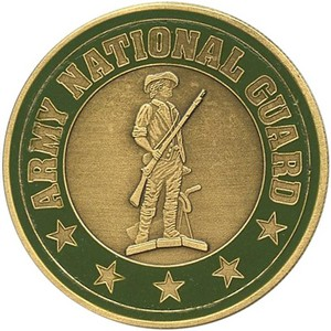 US Army National Guard Bronze Medallion Enameled