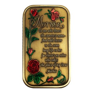 Mother Poem Bronze Bar Enameled