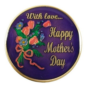Mothers Day Rose Bronze Medallion Enameled