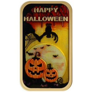 Happy Halloween Glow-in-the-Dark Scary Bronze Bar Enameled