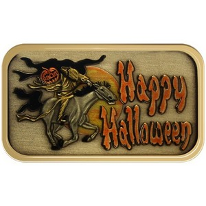 Happy Halloween Headless Horseman Bronze Bar Enameled