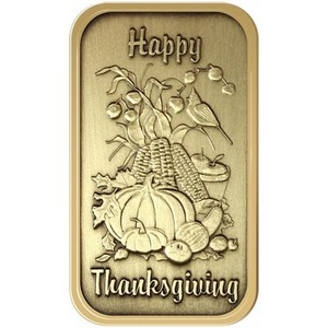 Happy Thanksgiving Vertical Bronze Bar