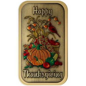 Happy Thanksgiving Vertical Bronze Bar Enameled