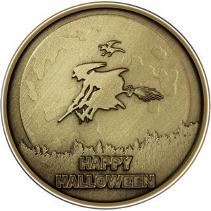 Happy Halloween Witch Bronze Medallion
