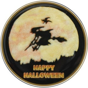 Happy Halloween Witch Bronze Medallion Enameled