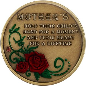 Mother's Day Rose Quote Bronze Medallion Enameled