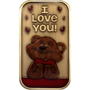 I Love You Bear Bronze Bar Enameled