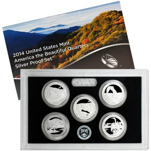 2014 S 5pc Silver America The Beautiful Quarter Proof Set