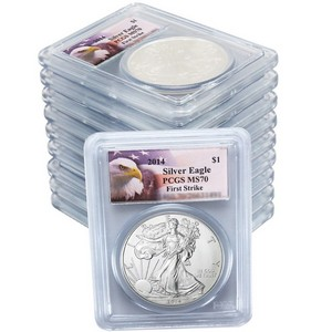 2014 Silver American Eagle MS70 FS PCGS Eagle Label 10pc