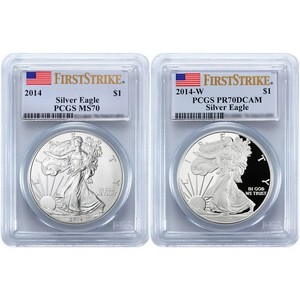 2014 Silver American Eagle MS70 FS & W PR70 DCAM FS PCGS Flag Label 2pc Combo
