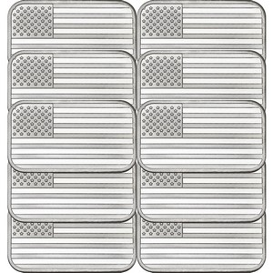 American Flag 1oz .999 Silver Bar 10pc