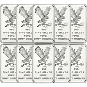 SilverTowne Trademark Eagle 5oz .999 Silver Bar 10pc