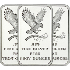 SilverTowne Trademark Eagle 5oz .999 Silver Bar 3pc