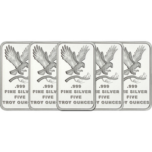 SilverTowne Trademark Eagle 5oz .999 Silver Bar 5pc