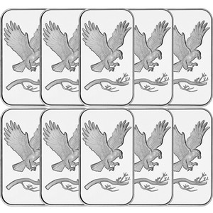 SilverTowne Trademark Eagle 1oz .999 Silver Bar 10pc