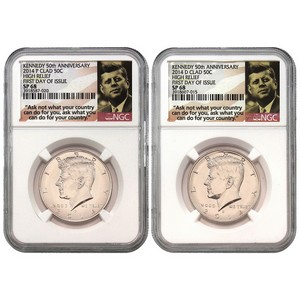2014 P & D Kennedy 50th Anniversary Clad High Relief Half Dollar SP68 NGC First Day Issue Label 2pc Set