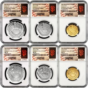 2014 Baseball Hall of Fame Half Dollar Silver Dollar & $5 Gold 70 Grade NGC MLB World Series Champions San Francisco Giants Label 6pc Set