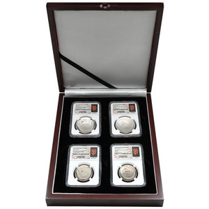 2014 Baseball HOF Half Dollar & Silver Dollar 70 Grade NGC MLB World Series Champions San Francisco Giants Label in Wooden Display Box 4pc Set