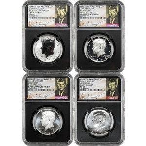 2014 Kennedy 50th Anniversary Silver Half Dollar 69 Grade NGC Black Core Signature Label 4pc Set