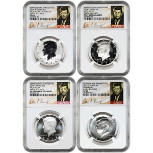 2014 Kennedy 50th Anniversary Silver Half Dollar 69 Grade NGC Signature Label 4pc Set