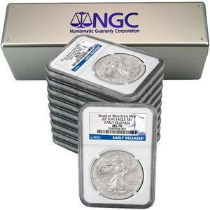 2015(W) Silver American Eagle Struck at WP MS70 ER NGC Blue Label 10pc