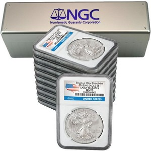 2015(W) Silver American Eagle Struck at WP MS70 ER NGC Country Label 10pc