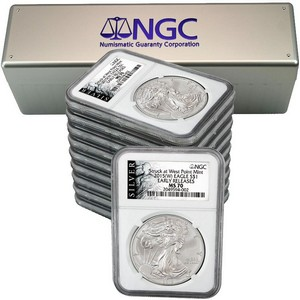 2015(W) Silver American Eagle Struck at WP MS70 ER NGC ALS Label 10pc