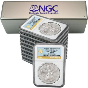 2015(W) Silver American Eagle Struck at WP MS70 ER NGC Star Label 10pc
