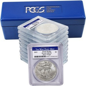 2015(W) Silver American Eagle Struck at WP MS70 FS PCGS Blue WP Label 10pc