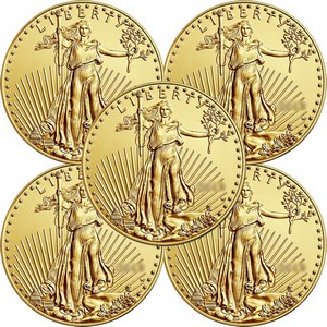 Gold American Eagle Tenth Ounce BU Date Our Choice 5pc