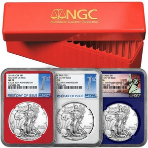2016 Silver American Eagle MS70 Red, White and Blue Core NGC First Day Issue Labels 3pc with Red NGC Storage Box