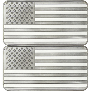 American Flag 10oz .999 Silver Bar 2pc