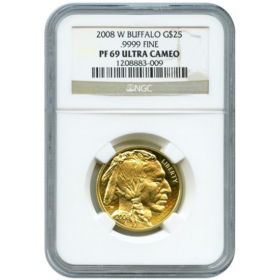 2008 W Gold Buffalo Quarter Ounce PF69 UC NGC