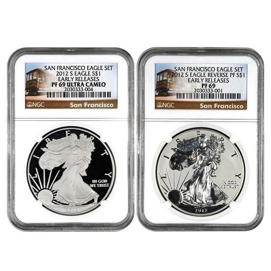 2012 S Silver American Eagle 2pc Proof Set PF69 ER NGC Trolley Label