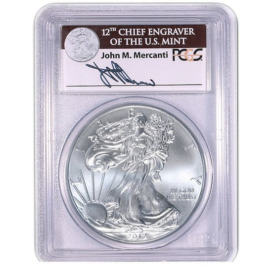 2012 W Silver American Eagle MS70 Burnished FS PCGS John M. Mercanti Signed Label