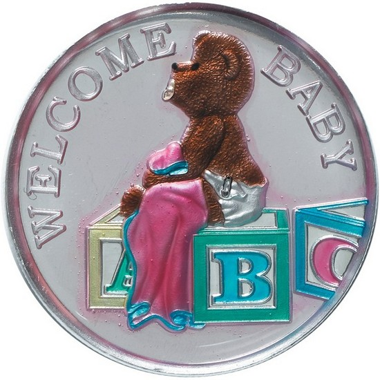 Welcome Baby 1oz .999 Silver Medallion Enameled Pink