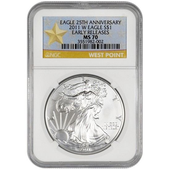 2011 W Silver American Eagle MS70 Burnished ER NGC Star Label