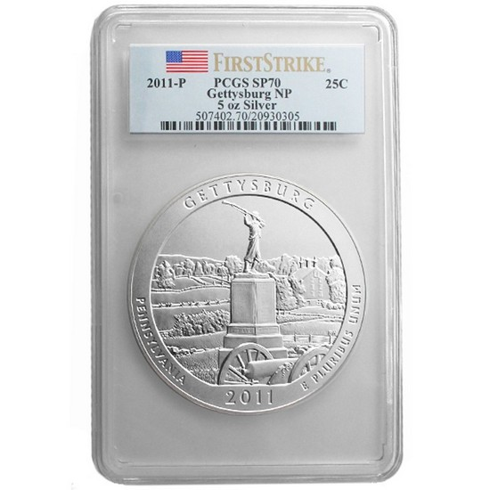 2011 P America The Beautiful Silver 5oz Gettysburg SP70 FS PCGS