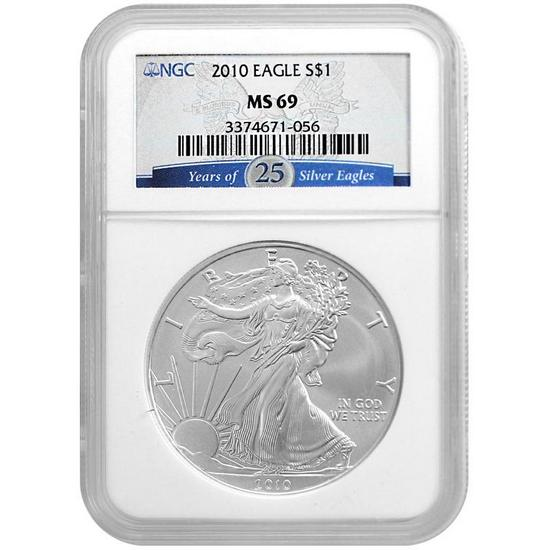 2010 Silver American Eagle MS69 NGC 25 Years of Silver Eagles Label