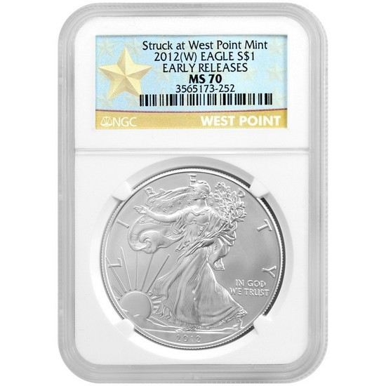 2012 W Silver American Eagle Struck at West Point Mint MS70 ER NGC Star Label