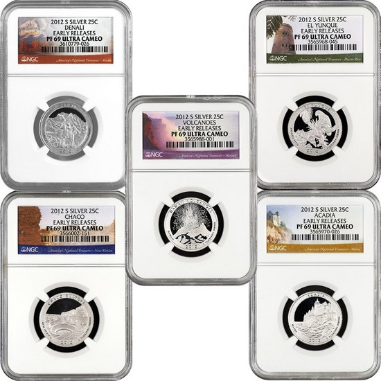 2012 S America The Beautiful Silver Quarters PF69 UC ER NGC 5 Coin Set