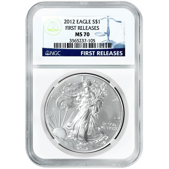 2012 Silver American Eagle MS70 First Releases NGC Blue Label